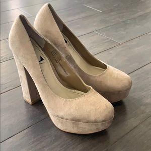 Nude platform heels